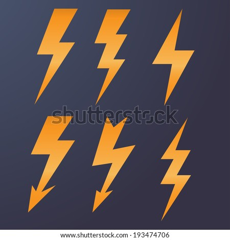 Lightning icon flat design long shadows vector illustration - stock vector
