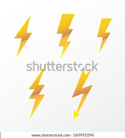 Lightning icon set  - stock vector