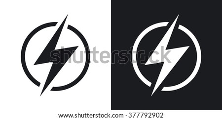 Lightning icon, vector. Two-tone version on black and white background - stock vector