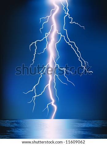 Lightning in the night, vector illustration, EPS  file included - stock vector