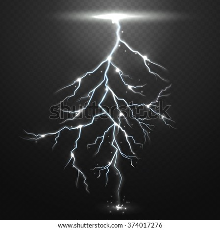 Lightning on black background with transparency for design.Vector