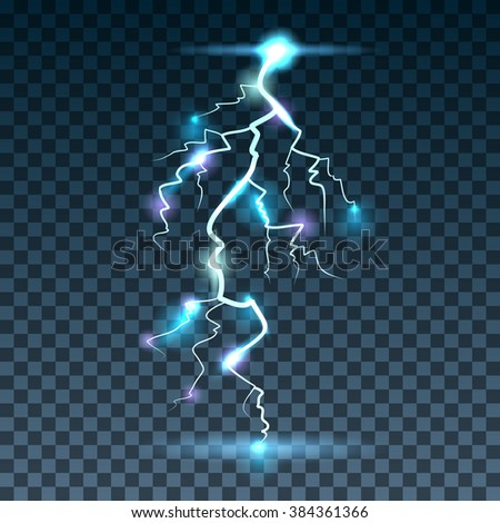 lightning realistic background with a bright bunch of light vector illustration - stock vector