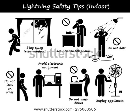 Lightning Thunder Indoor Safety Tips Stick Figure Pictogram Icons - stock vector