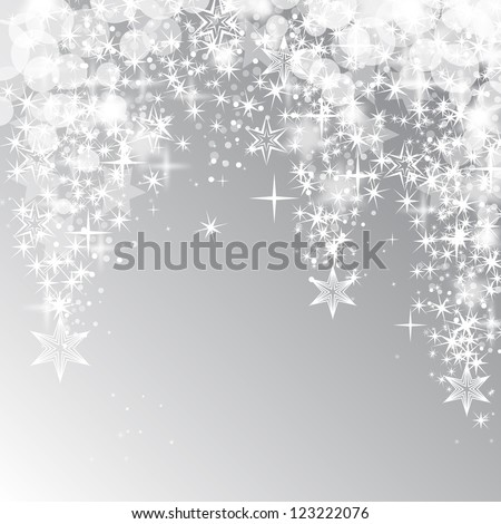 Lights and falling stars on background - Vector illustration. Light abstract Christmas background with white stars - stock vector