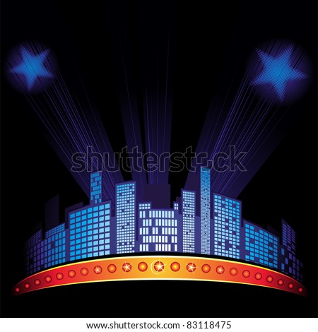 Lights with stars over city at night sky - stock vector