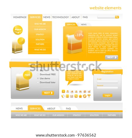 Ligth Orange Web design elements collection - web templates, frames, bars,  icons, bannes, login forms, buttons. - stock vector