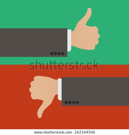 Like and Dislike. A hand with the thumb raised up and a hand with the thumb lowered down