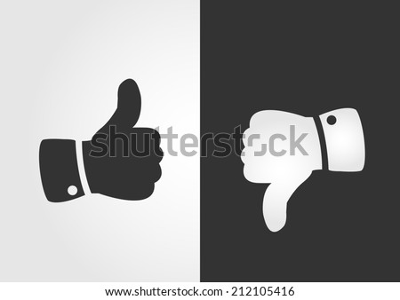 Like and dislike icon, flat design - stock vector
