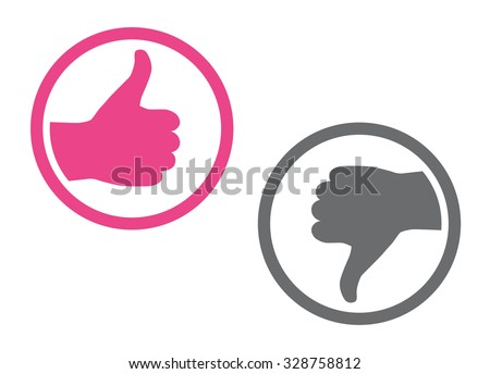 Like and Dislike Icon, Hand with Thumbs Up and Hand with Thumbs Down, Vector Illustration. - stock vector