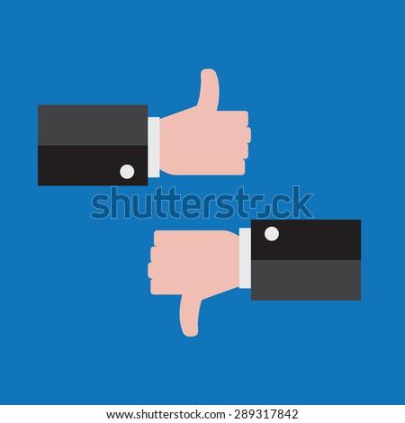 Like and dislike thumb up and down vector - stock vector