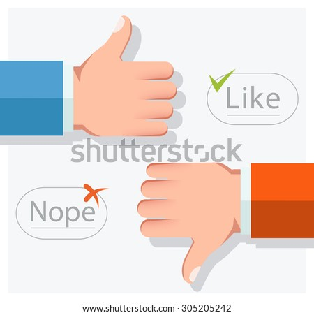 Like and Dislike vector illustration. Thumbs up and thumbs down hand sign. Flat style - stock vector