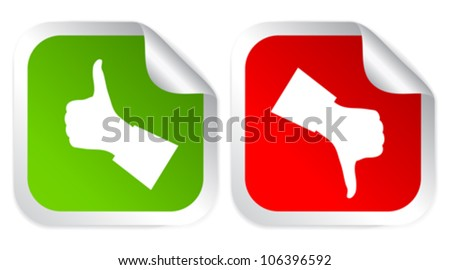 Like and dislike voting stickers vector illustration