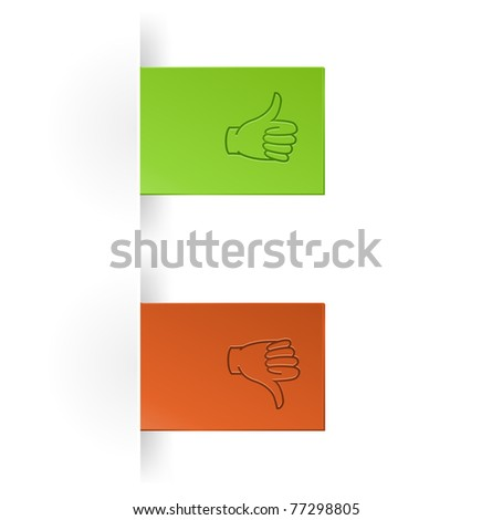 like and unlike icon as tump up and down hand icon - stock vector