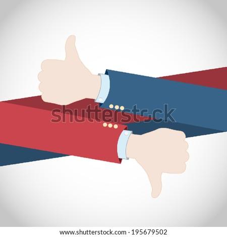 Like Dislike Hands - stock vector