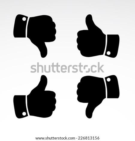 Like, dislike icons isolated on white background. Vector art. - stock vector