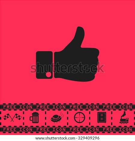 LIKE - hand. Black flat vector icon and bonus symbol - Racing flag, Beer mug, Ufo fly, Sniper sight, Safe, Train on pink background - stock vector