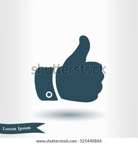 Like icon. Hand finger up sign. Thumb up symbol. Flat design style.  - stock vector