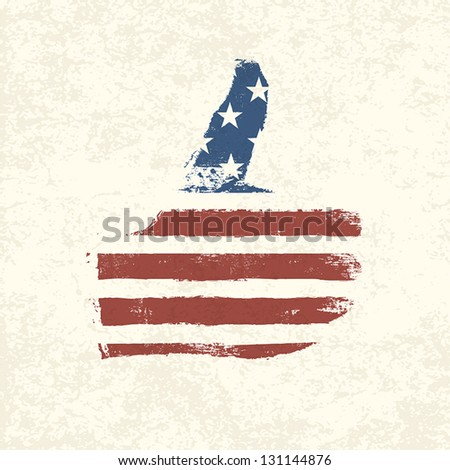 Like shaped american flag. Vector, EPS10 - stock vector