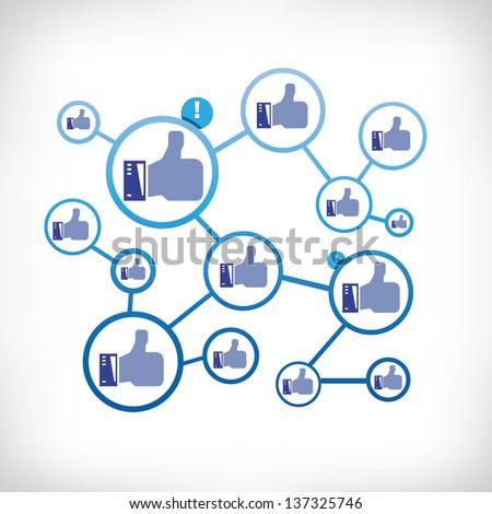 like, social network - stock vector