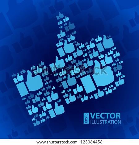 Like symbol on dark blue background. RGB EPS 10 vector illustration - stock vector