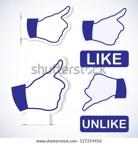 Like symbol. Paper stickers - stock vector
