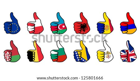 like symbol with flag of european countries - stock vector