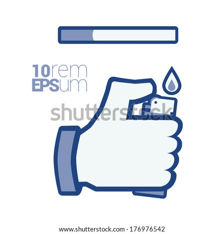 Like/thumb up/hand with cigarette lighter.Isolated on white background.  - stock vector