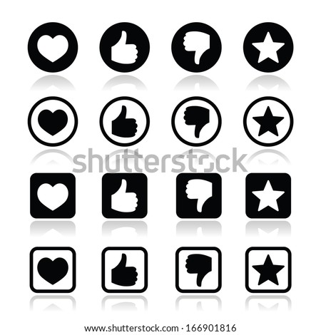 Like thumb up, love, favorite icons set - stock vector