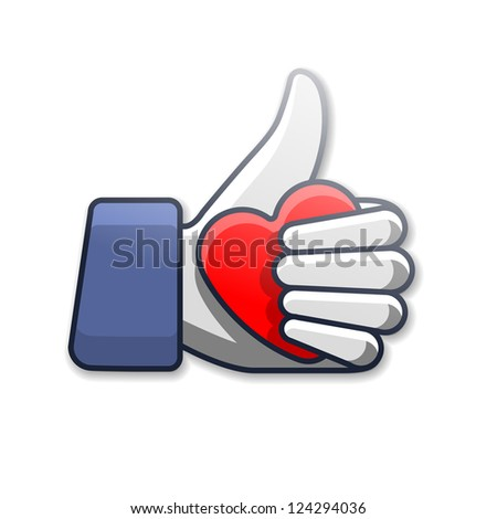 Like/Thumb Up symbol icon with heart - stock vector
