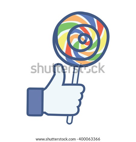 Like/Thumbs up/Hand hold candy lollipop. Like Icon.Like Icon Vector.Like Icon JPEG. Like Icon Object. Like Icon Picture. Like Icon Image. Like Icon Graphic. Like Icon Art. Like Icon JPG. Like Icon EPS - stock vector
