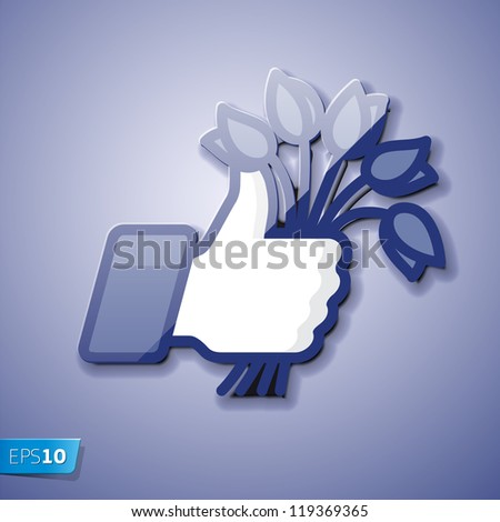Like/Thumbs Up icon with bunch of flowers, vector Eps10 illustration