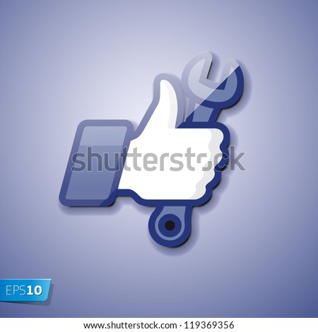 Like/Thumbs Up icon with wrench, vector Eps 10 illustration - stock vector