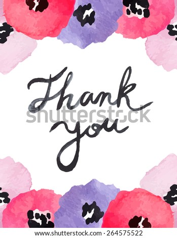 Lilac And Pink Watercolor Flowers With Thank You Calligraphy Text - stock vector