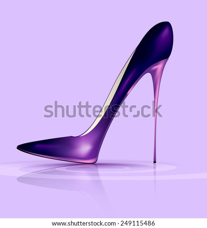 lilac background and the purple ladys shoe - stock vector