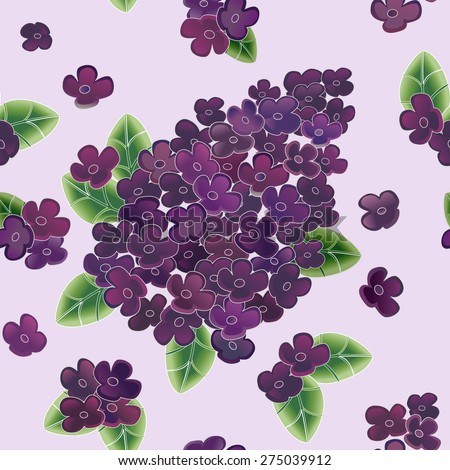 Lilac flower vector illustration. Seamless floral pattern. - stock vector