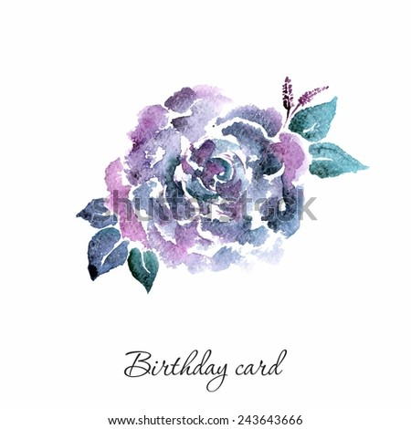 Lilac flower. Watercolor birthday card with rose. Floral decorative element. - stock vector