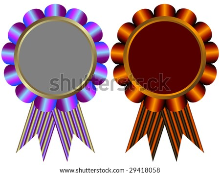 Lilas and brown banners on white background (vector) - stock vector