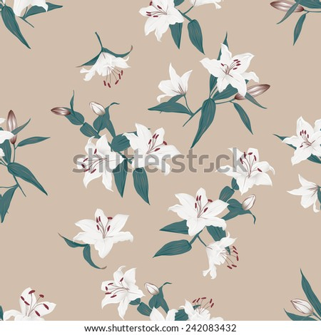 Lilies almond seamless vector background  - stock vector