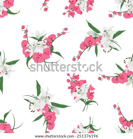 Lilies and orchids bouquet seamless print  Vector floral pattern  - stock vector