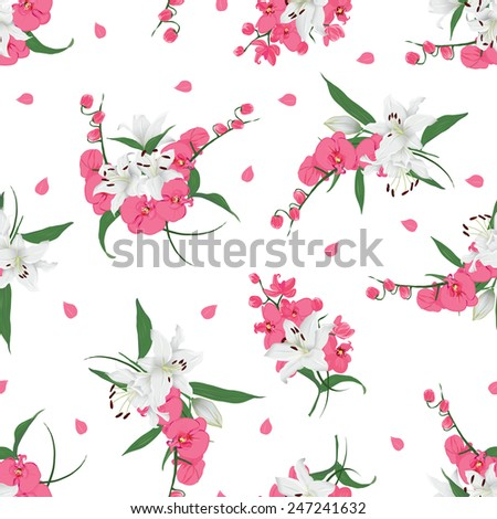 Lilies and orchids bouquet seamless print  Vector floral pattern with scattered petals - stock vector