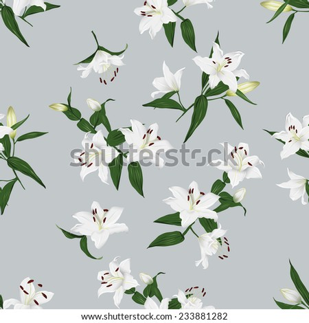 Lilies grey seamless vector background - stock vector