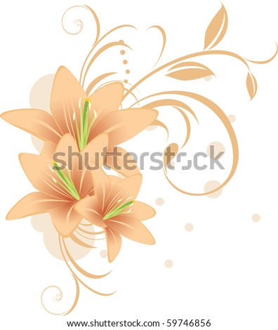 Lilies with decorative ornament. Vector