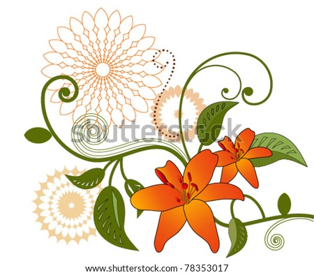 Lilly  floral / vine - stock vector