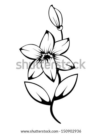 lily monochrome silhouette vector for design - stock vector
