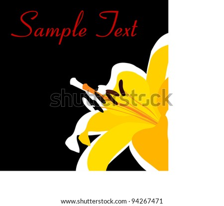 lily on a black background - stock vector