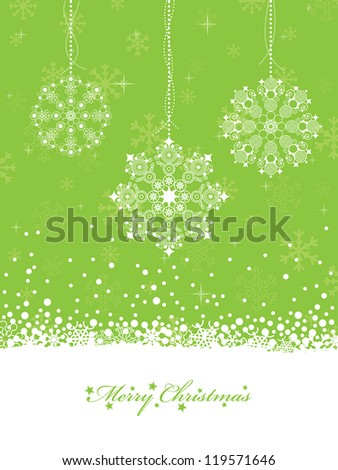 lime green christmas decoration with snowflakes and seasonal message - stock vector