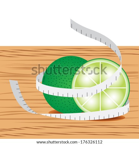 Lime with measure tape and table wood - stock vector