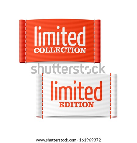 Limited collection and edition clothing labels. Vector. - stock vector