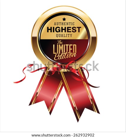Limited edition exclusive golden label - stock vector