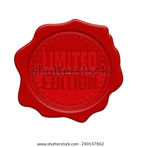 Limited edition red wax seal isolated on white background, vector illustration - stock vector